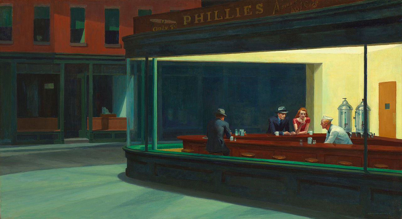 Edward Hopper, 'Nighthawks', 1942. Oil on Canvas. 84 cm x 1.52 m. Art Institute of Chicago Building.