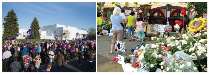 Fans grieving at Paisley Park and Neverland
